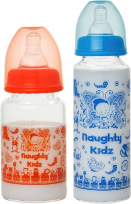Naughty Kidz PREMIUM BOROSILICATE GLASS FEEDING BOTTLE WITH FOUR(4) LSR NIPPLE -COMBO OF -ORANGE-125ML+BLUE-250ML - 250 ml(ORANGE-125ML, BLUE-250ML)