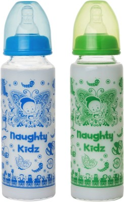 Naughty Kidz PREMIUM BOROSILICATE GLASS FEEDING BOTTLE WITH FOUR LSR NIPPLE -COMBO OF BLUE-250ML+GREEN-250ML - 250 ml(Multicolor)