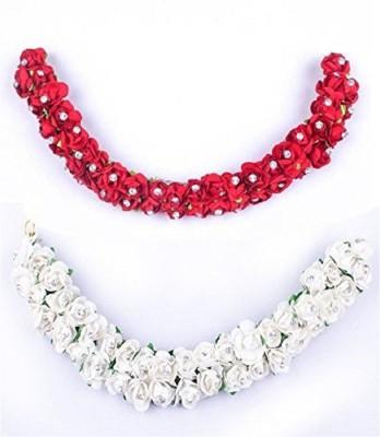 INAAYA Hair Accessories For Women Wedding Bridal Gajra For Party Wear, Red White, 20 Gram Bun(Red, White) Flipkart