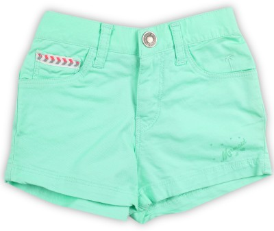 Palm Tree Short For Girls Casual Solid Cotton Blend(Light Green, Pack of 1)