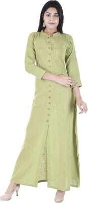 Desier Women Solid Straight Kurta(Green)