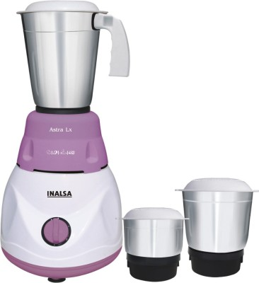 Inalsa Astra LX 600 watt Mixer Grinder(White & Purple, 3 Jars)  available at flipkart for Rs.1599