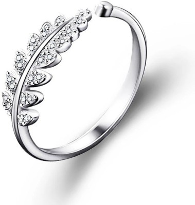WearYourFashion Open Design Leaf Alloy Cubic Zirconia Platinum Plated Ring