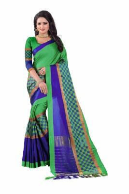 Fancy Fab Striped Daily Wear Cotton Silk Saree(Light Green, Blue)