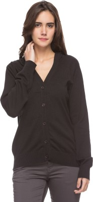 DJ&C by FBB Solid V-neck Casual Women Black Sweater