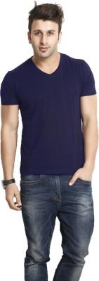 Smartees Solid Men's V-neck Blue T-Shirt