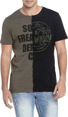 SF JEANS by Pantaloons Printed Men Round Neck Green T-Shirt