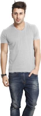 Smartees Solid Men's V-neck Grey T-Shirt