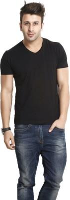 Smartees Solid Men's V-neck Black T-Shirt