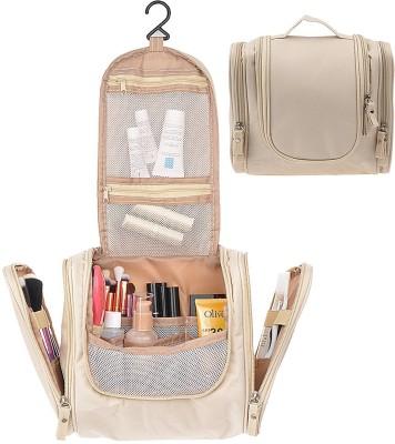 HOUSE OF QUIRK Beige Cosmetic Makeup Bag Toiletry Kit Bathroom Organizer Storage Travel Toiletry Kit(Beige)