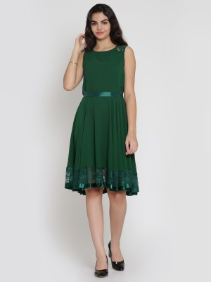 Eavan Women Fit and Flare Green Dress