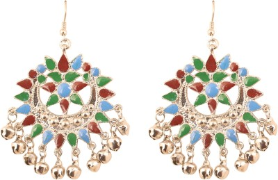 Touchstone Touchstone Indian Bollywood Chaad Moon Shape Meenakari Enamel Afghan Tribal Gorgeous Gypsy Designer Jewelry Earrings In Antique Silver Tone For Women. Alloy Chandbali Earring