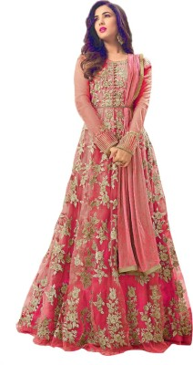Ethnic Empire Net Embroidered Semi-stitched Salwar Suit Dupatta Material