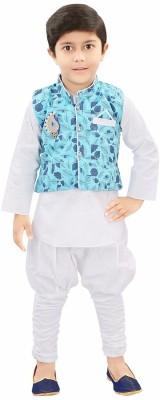 ADITI FAB Boys Festive & Party Kurta, Waistcoat and Pyjama Set(White Pack of 1) Flipkart