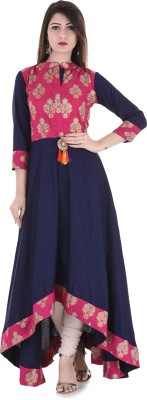 Stylum Festive & Party Printed Women Kurti(Blue, Pink, Gold)