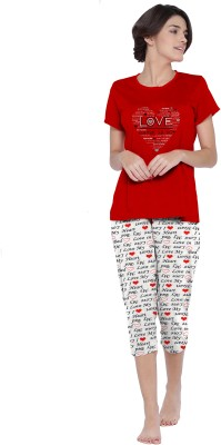 So Sweety Women Solid Red Top & Capri Set