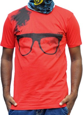 scopux Printed Men's Round Neck Red T-Shirt