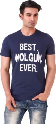 Wolgun Graphic Print Men's Round Neck Blue T-Shirt
