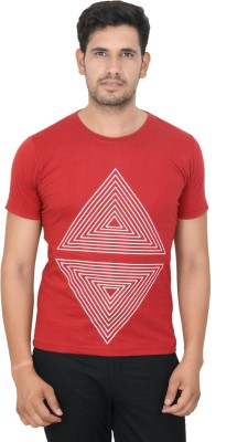 Clodz Printed Men's Round Neck Red T-Shirt