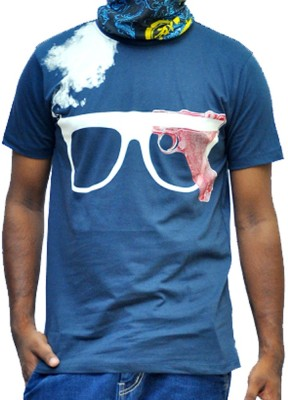 scopux Printed Men's Round Neck Blue T-Shirt