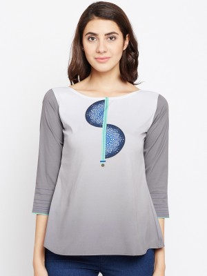 Span Casual 3/4th Sleeve Printed Women Grey Top