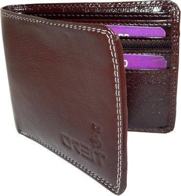 Orbit Men Brown Genuine Leather Wallet 5 Card Slots