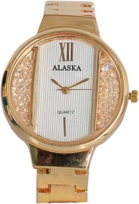 Alaska Creation alaskasparkNew designer premium quality Analog chain strap watch for girls and women's Alaska New AC202 Gold metal pattern Bracelet Girls watch -for women Watch  - For Girls