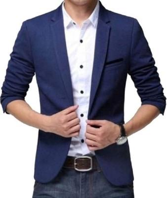 One Click Color Block Single Breasted Casual Men Blazer(Black)