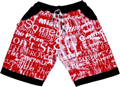 Hey Baby Short For Girls Casual Graphic Print Cotton Blend(Red, Pack of 1)