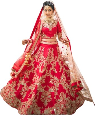 FotoableArc Embroidered Semi Stitched Lehenga Choli(Red)