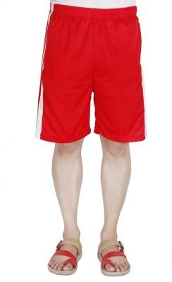 AVR Solid Men's Red Regular Shorts
