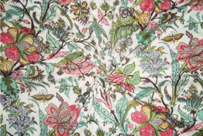 Rajcrafts 5-MTR_RHF_0067 �Flower print Design Jaiprui Cotton Running Fabric 5 Meter Dress Making Fabric, Fabric, Running Fabric, Cotton Fabric, Dress Runnig fabric,Handmade Fabric , Hand block Fabric, Fabric By Meter, Cotton Fabric For men, Cotton fabric for woman Sofa Fabric(White 5 m)