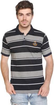 HARBOR N BAY Striped Men's Polo Neck Black T-Shirt