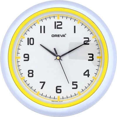 Sokariya Analog 25 cm Dia Wall Clock(yellow, With Glass)