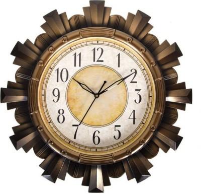 Sokariya Analog Wall Clock(Brown, With Glass)