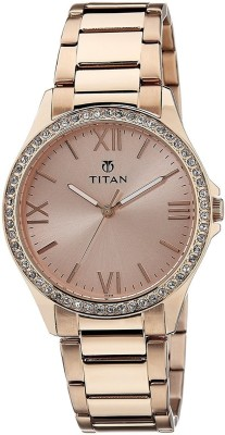 Titan Purple Analog Gold Dial Women