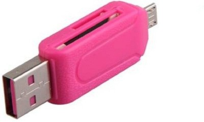 Elegant Shopping Micro USB OTG Smart Card Reader SD(HC) M2 MMC MS TF for Smart Phones And Android Tablets ( without Card )- multi Card Reader(Pink)