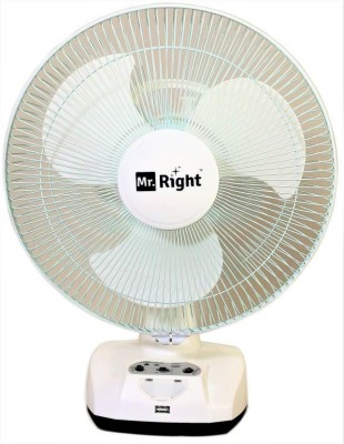 """Mr. Right MR-2912 AC/DC 12\"""" Oscillating Rechargeable Fan 3 Blade Table Fan(White)"""
