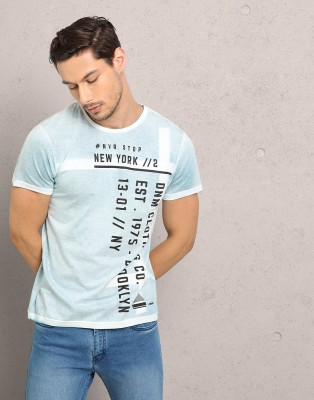 Metronaut Printed Men Round Neck Light Blue T-Shirt