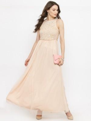 Pluss Women Maxi Beige Dress
