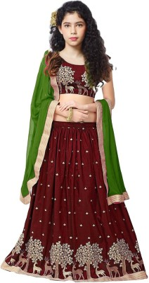 MF Retail Girl's Lehenga Choli Ethnic Wear Embroidered Lehenga, Choli and Dupatta Set(Brown, Pack of 1)