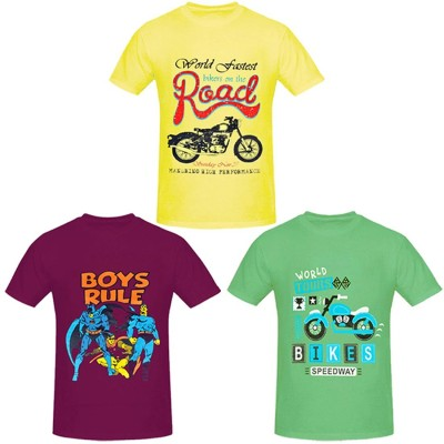PRETTYFIT32 Boys Printed Cotton T Shirt(Multicolor, Pack of 3)