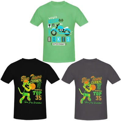 PRETTYFIT32 Boys Printed Cotton T Shirt(Multicolor, Pack of 3) Flipkart