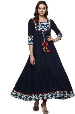 Ayan Women Solid Anarkali Kurta(Blue, White)