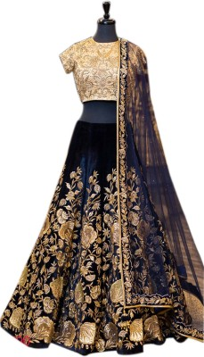 Ethnic Empire Velvet Embroidered Semi-stitched Salwar Suit Dupatta Material