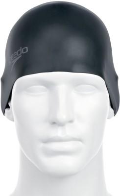 Speedo PLAIN MOULDED SILICON CAP ADULT   BLACK Swimming Cap Black, Pack of 1