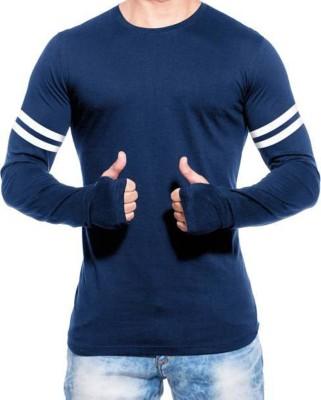 izzard Solid Men's Round Neck Dark Blue T-Shirt