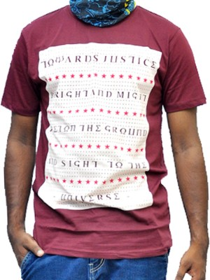 scopux Printed Men's Round Neck Maroon T-Shirt