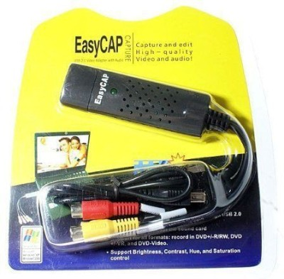 AVB  TV-out Cable New USB 2.0 Easycap Easier Cap 4 Channel DC60-008 Tv Dvd Vhs Video Adapter Capture Card Audio Av Capture Support Windows Xp/7/Vista 32 Win 10- Video And Audio Capturing Device directly from TV(Multicolor, For Laptop)