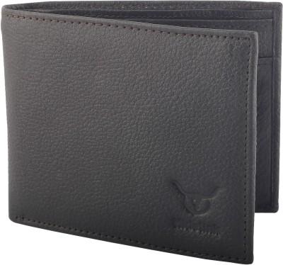 Hidelink Men Brown Genuine Leather Wallet 6 Card Slots